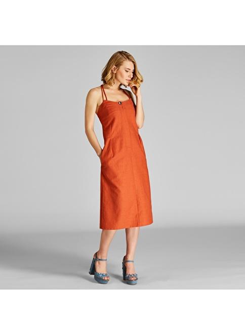 Vekem-Limited Edition İp Askılı Önden Fermuarlı Keten Elbise Kahve